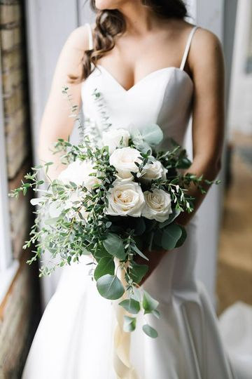 Ivory roses and eucalyptus