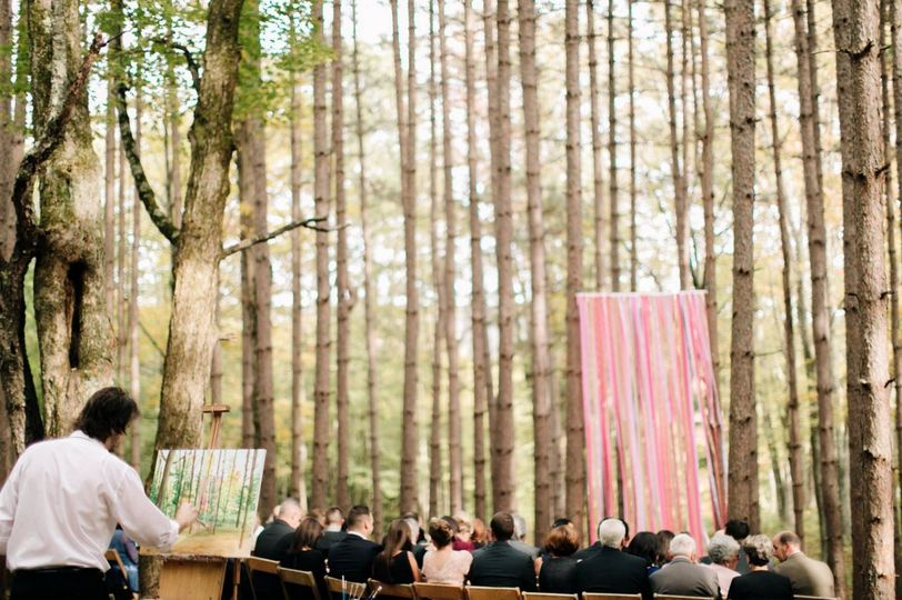 Live painting of the wedding in the woods