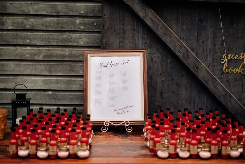 Wedding favors and table assignments