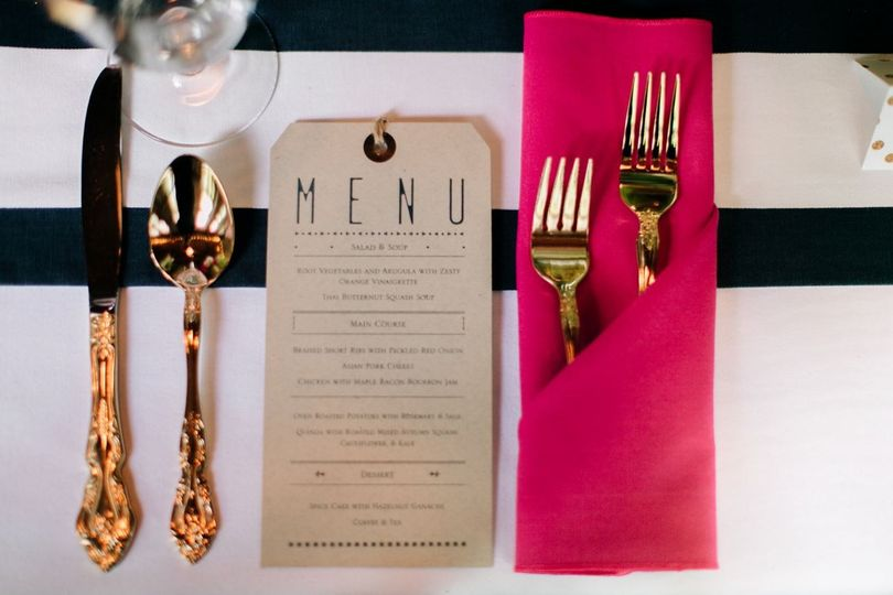 Gold cutlery and menu