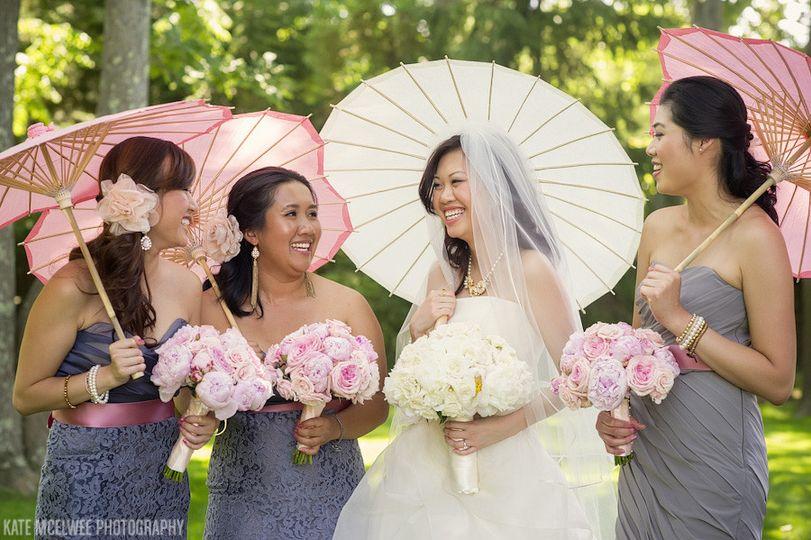 bride and bridesmaids with parasol
