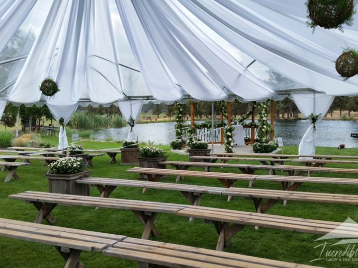 Tmx Clear Canopy With White Satn Decor 51 473858 162095971318654 Bend, OR wedding rental