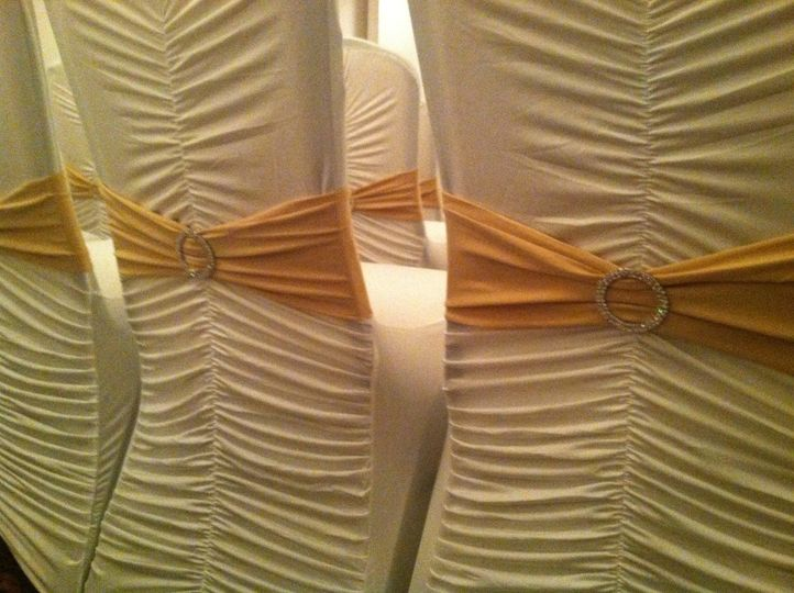 Chairs with yellow ribbons