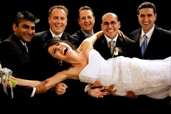 Groomsmen and bride