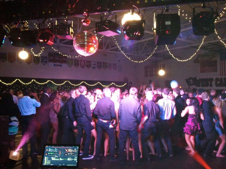 One of our dance floor lighting packages at a school prom event.