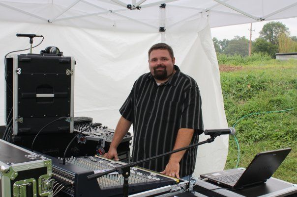 Standing at the helm of one of our production sound systems.