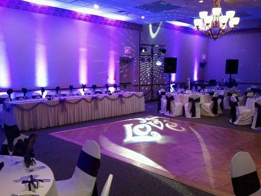 Up-lighting for a wedding reception. This event featured up-lighting, a custom gobo projected on the...