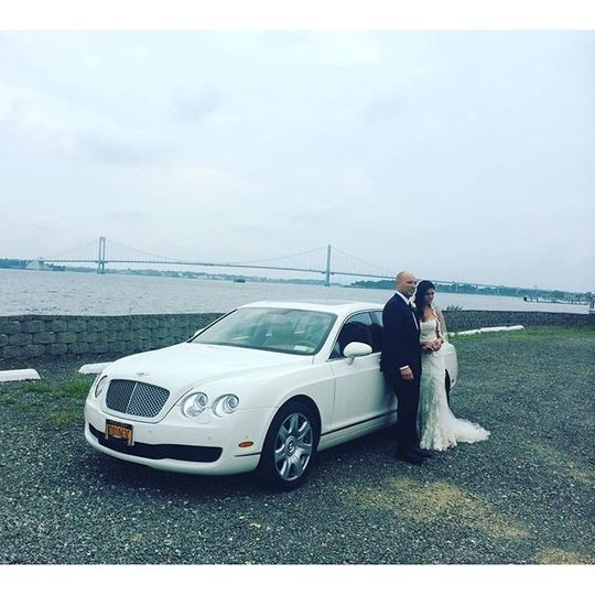 Lovely Couple on their wedding date! #crosscountylimo #weddingfun #bentley #bride #groom #luxury...