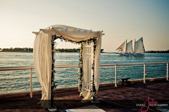 Wedding arch by the water