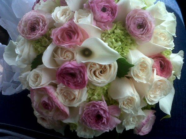 Pink and white themed floral arrangement