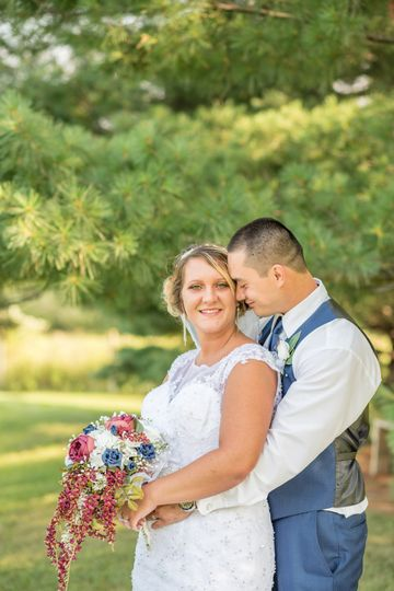 Couple with a beautiful bouquet