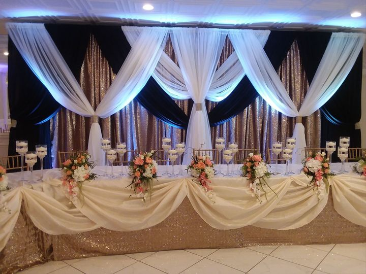 Black, white and gold wedding reception decor
