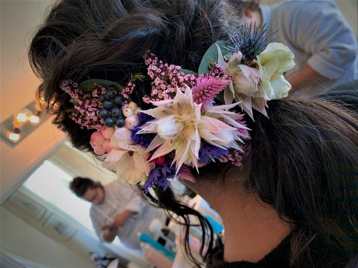 Fresh flowers hairstyle