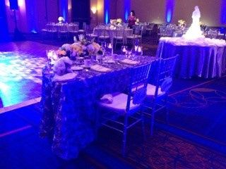 silver wedding sweetheart table for 2