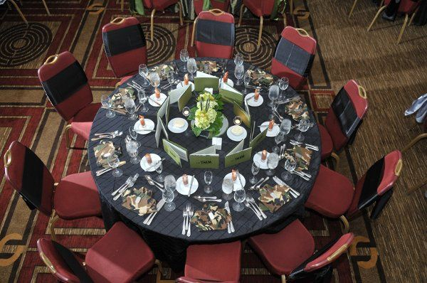 Each table for this event (60 tables total) was dressed in one of three colors: olive green, black...