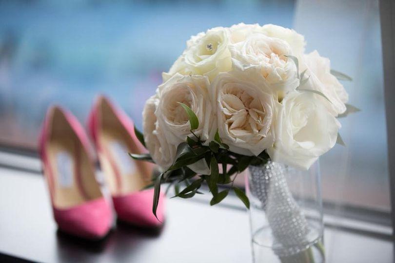Bridal shoes and bouquet
