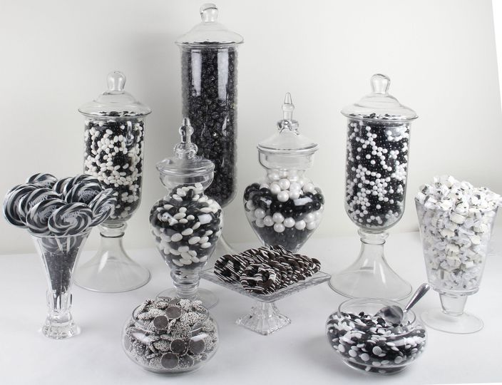 black white candy buffet