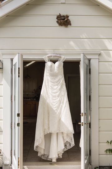 Wedding dress in cottage