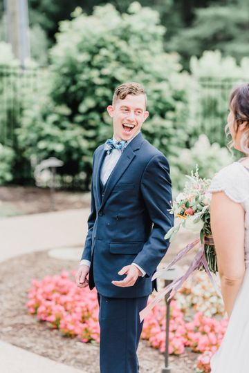 Nothing beats a first look reaction like this.   Photo by Samantha Zenewicz Photography