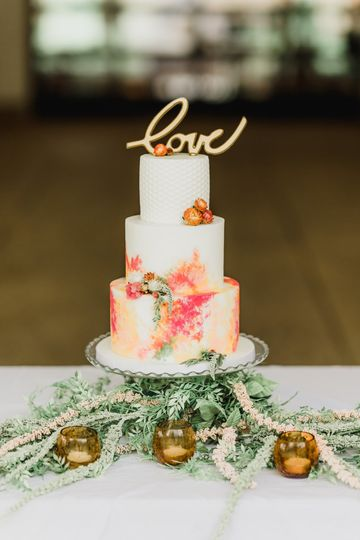 Watercolor cake is sure to be a crowd pleaser.   Photo by Samantha Zenewicz Photography