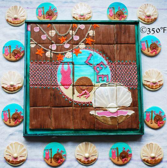 Beach theme cake