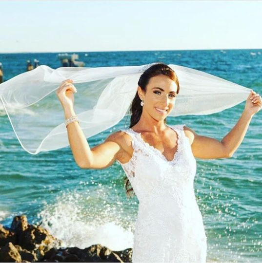 Bride by the beach