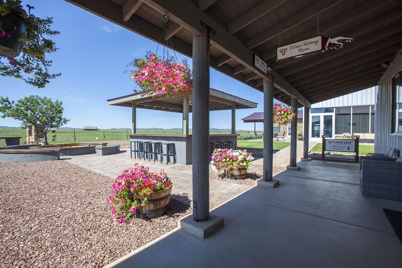 Our covered winery patio is adorned with fresh flowers throughout the year.