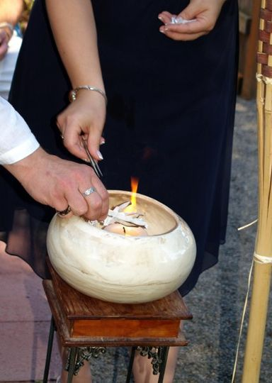 Releasing the past to start anew with a Burning Bowl Ceremony by Beverly Mason, officiant in...