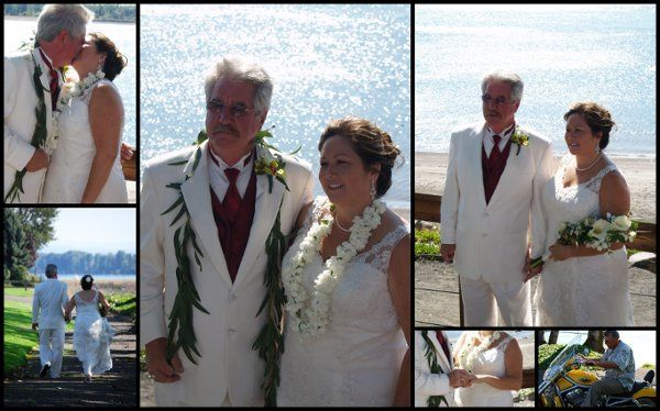 a Hawaiian theme wedding on the beach of the Columbia River. Lei exchange. White tuxedo, white gown....