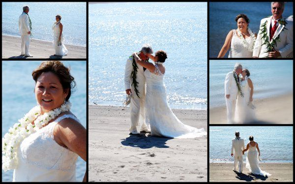 Look and feel of a beach wedding set on the Columbia River. Hawaiian theme, lei exchange. Officiant...