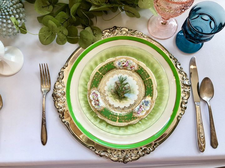 Table setting with silver charger
