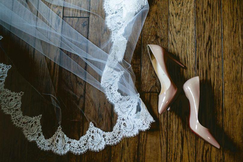 Bride veil and stiletto