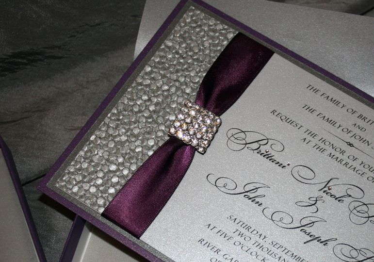 Sultry satin and lace combine in a dramatic layered invitation with a vintage feel.  Gorgeous...