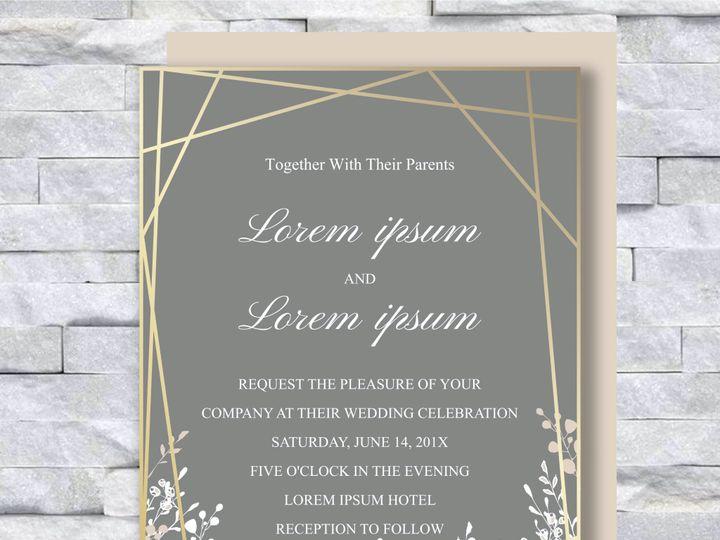 Tmx Gold With Flowers 51 644268 158533617725780 Altoona, PA wedding invitation