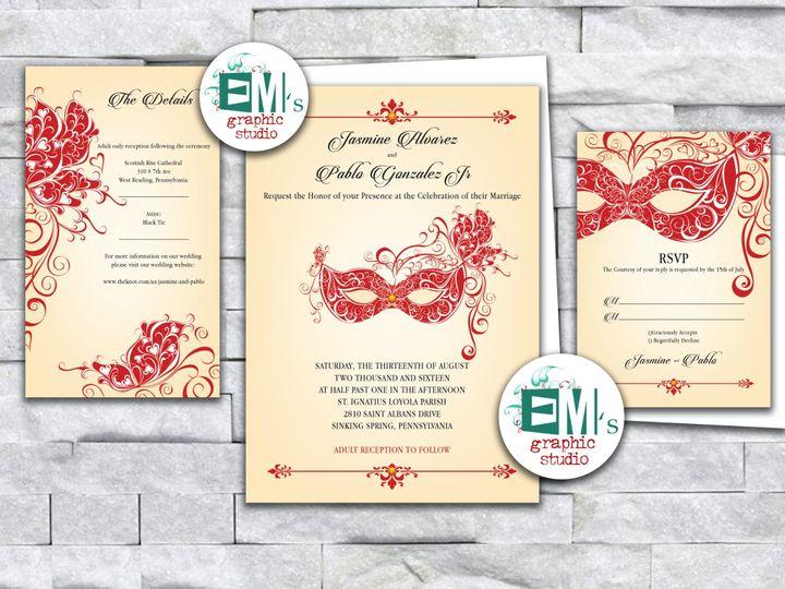 Tmx Jasmine Red Masks Copy 51 644268 158533618057351 Altoona, PA wedding invitation