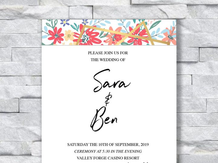 Tmx Sara And Ben With Flowers 51 644268 158533618545428 Altoona, PA wedding invitation