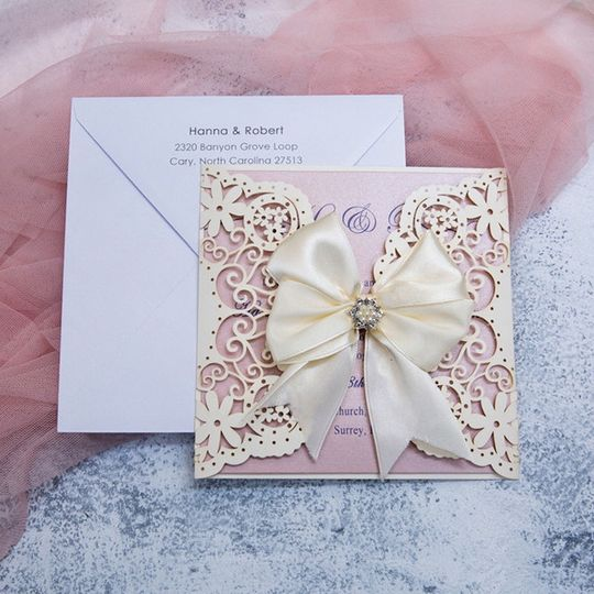 White laser cut with ribbon