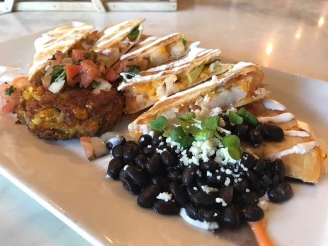 Smoked Chicken QuesoFrescoDilla with Fried Sweet Corn Risotto and Poblano Black Beans