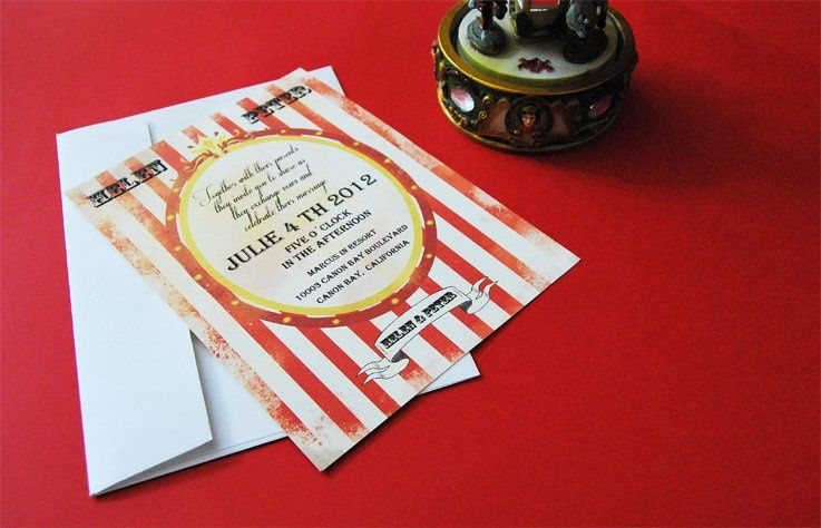Circus style invitation  Invitation designed by Menta Designs studio. It's based in old circus...