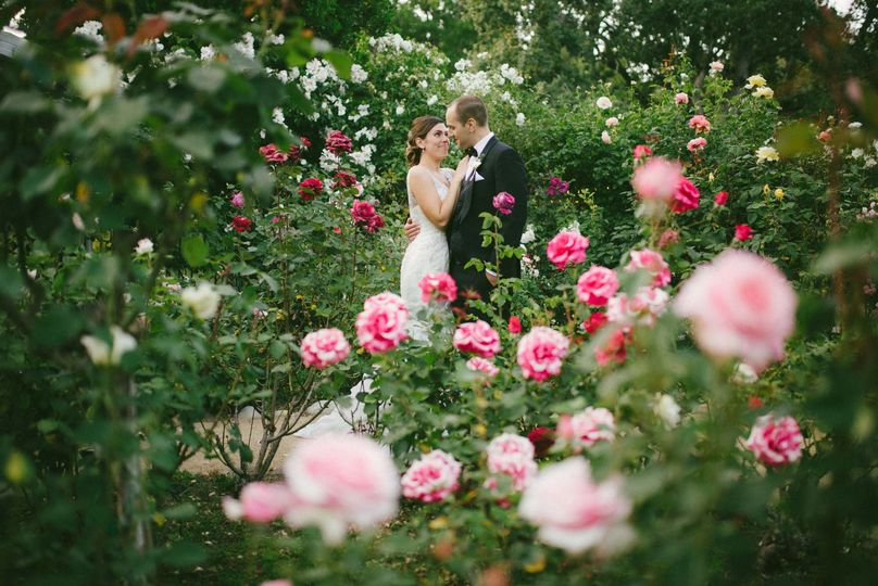 Couple portrait with roses