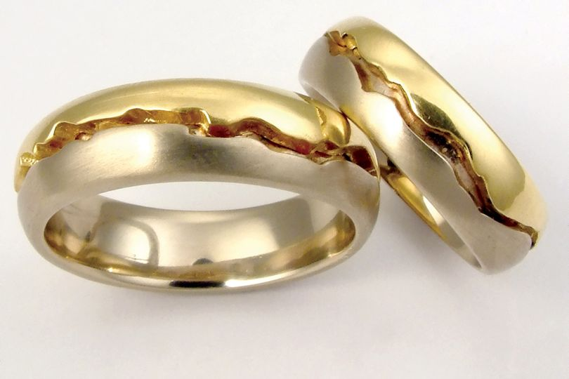 The Tectonic Plate Union Band. 14k white and 18k yellow gold custom homemade wedding bands