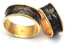 The Fusion Band.  Fused 18k and 22k gold with Sterling Silver custom handmade wedding bands.