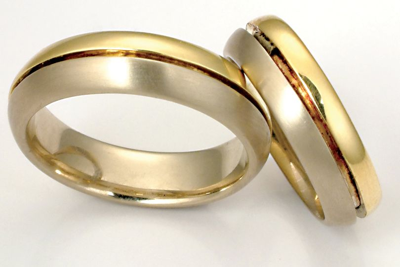 The Balance Ring (from the Union Band collection) 14k white and 18k yellow gold custom homemade...