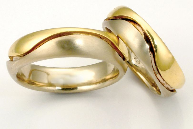 The Wave Ring (from the Union Band collection) 14k white and 18k yellow gold custom homemade wedding...