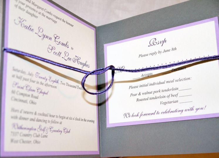 lavender gray purple ivory tie the knot invitation