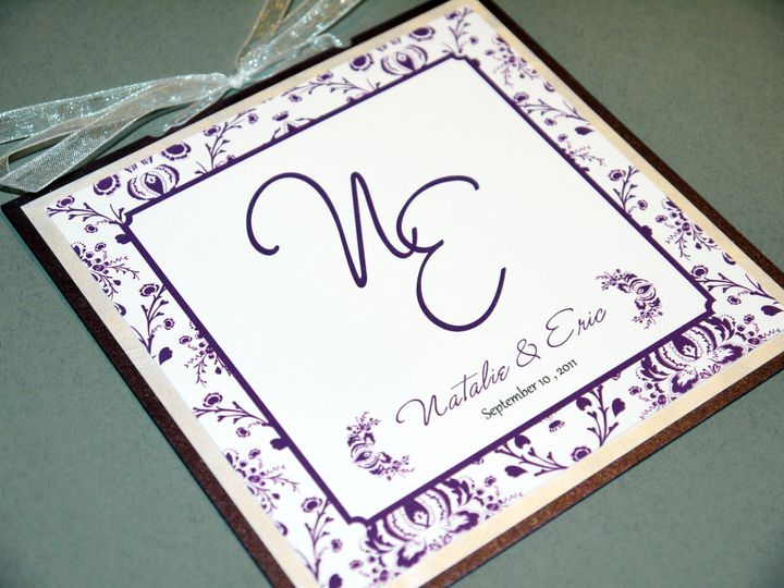 metallic eggplant purple traditional floral square monogram program b 2