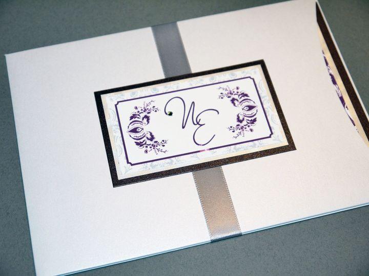metallic silver gray eggplant purple traditional floral pocket invitation