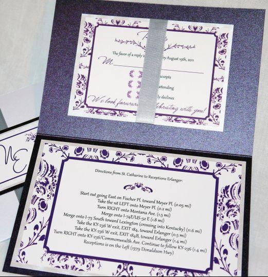 metallic silver gray eggplant purple traditional floral pocket invitation c