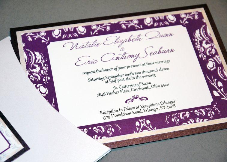 metallic silver gray eggplant purple traditional floral pocket invitation b