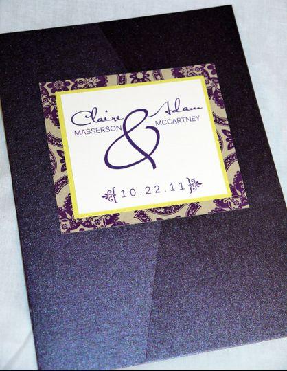 plum purple lime yellow damask modern pocketfold invitation